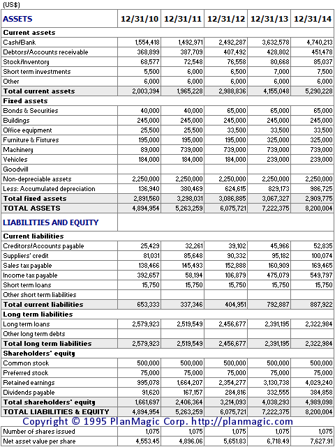 Online Business Plan - Projected Balance Sheet