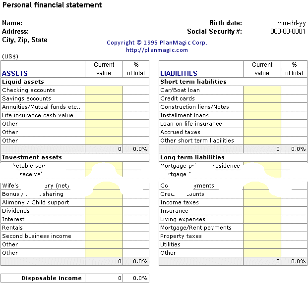 Printables Personal Financial Statement Worksheet online business plan bonus tools personal financial statement worksheet