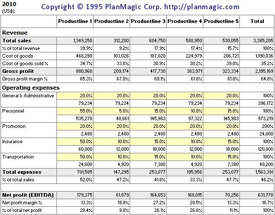 online business plan revenue analysis